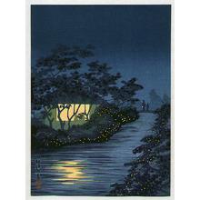 小林清親: Fireflies and Lighted House - Artelino