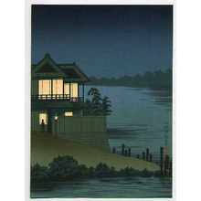 小林清親: Lighted House on Riverside - Artelino
