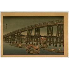 歌川広重: Fireworks at Ryogoku Bridge - Famous Places of Edo - Artelino