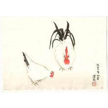 小林清親: Rooster and Hen - Artelino