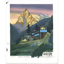 Morozumi Osamu: Sunset at Mt. Machhapuchre - Nepal - Artelino