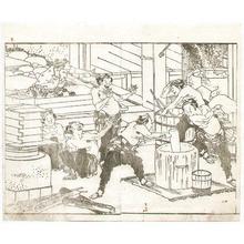 Katsushika Hokusai: Rice Cake Making - Hokusai Soga - Artelino