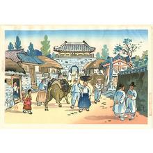 Hiyoshi Mamoru: Town Street in Korea - Artelino