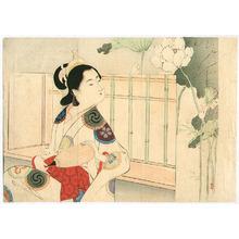 Mizuno Toshikata: Bijin and Lotus Flowers - Artelino