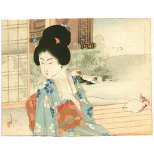 水野年方: Bijin and Cat on Balcony - Artelino