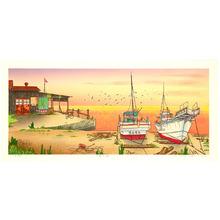 Okamoto Ryusei: The Sea in Sunset Glow - Small Fishing Port - Artelino