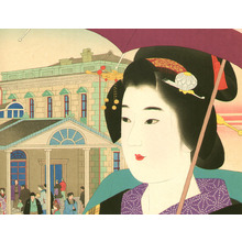 Ito Shinsui: Beauty at Shinbashi Station - Artelino
