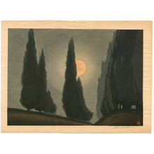 Urushibara Mokuchu: Trees in Moonlight - Artelino