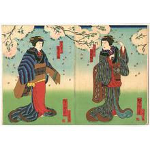 Utagawa Yoshitaki: Under the Cherry Blossoms - Kabuki - Artelino