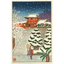 Aoyama Masaharu: Temple Gate in Snow - Artelino