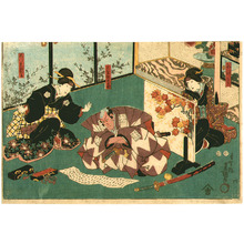 Utagawa Kunisada: Letter and Sword - Horizontal Kabuki Print - Artelino