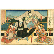 Utagawa Kunisada: Kabuki Actors - Horizontal Kabuki Print - Artelino