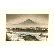 月岡耕漁: Mt. Fuji in Winter - Artelino
