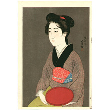 Hashiguchi Goyo: Bijin holding a tray - Artelino