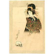 富岡英泉: Courtesan and Skull - Artelino