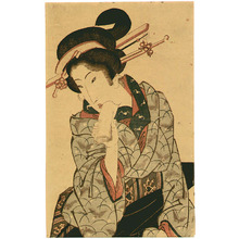 Keisai Eisen: Beauty in Butterfly Kimono - Artelino