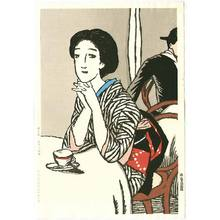 Takehisa Yumeji: Woman at Cafe - Artelino