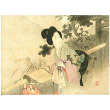 富岡英泉: Bijin Holding Kimono - Artelino