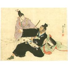 富岡英泉: Two Samurai and a Beauty - Artelino