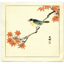 飯島光峨: Bird on Red Maple - Artelino