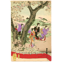 Toyohara Chikanobu: Cherry Blossom Viewing - Ladies of Chiyoda Palace - Artelino