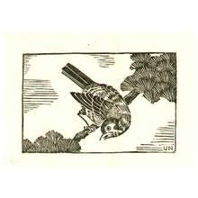 Hiratsuka Unichi: Bird on Pine Branch - Artelino