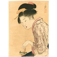 尾形月耕: Girl and Small Flower - Artelino
