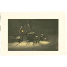 小林清親: Rickshaw in Snow Falling Night - Artelino