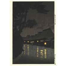 川瀬巴水: Rainy Night at Maekawa - Artelino
