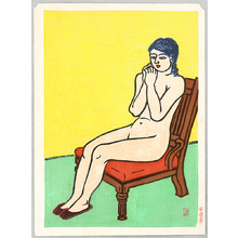 Hiratsuka Unichi: Nude on a Red Chair - Artelino