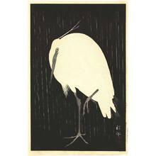 Ohara Koson: Egret on Rainy Night - Artelino