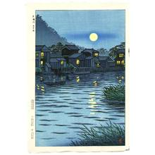 笠松紫浪: Rising Moon at Katase River - Artelino