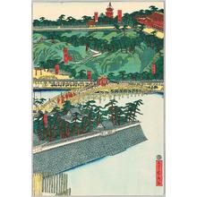 Utagawa Sadahide: Emperor Travels to Hachiman Shrine - Artelino