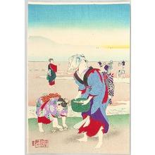 豊原周延: Hunting for Clams on a Beach - Edo Fuzoku - Artelino