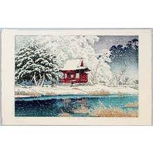川瀬巴水: Snow at a Shrine Entrance - Artelino