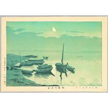 Fujishima Takeji: Evening Moon on Yodo River - Artelino