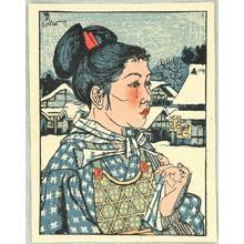 Sekino Junichiro: Woman in a Snowy Village - Artelino