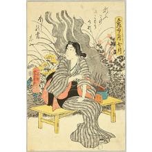 Utagawa Yoshikazu: Smoking Beauty - Artelino