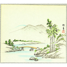Kikuchi Keigetsu: Bridge and Mountains - Artelino