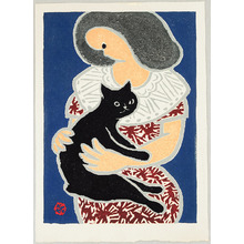 Sasajima Kihei: Woman and Black Cat - Artelino