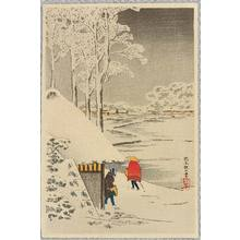 Takahashi Hiroaki: Night Snow at Ikegami (postcard size print) - Artelino