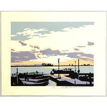 Miyata Saburo: April - Evening at the Harbor - Artelino
