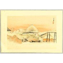 Ogata Gekko: Behind Roofs - One Hundred Views of Mt. Fuji - Artelino