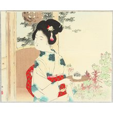 Mizuno Toshikata: Tea House Girl - Artelino