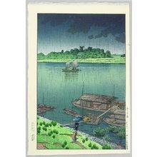 Kawase Hasui: Arakawa River in May Rain - Artelino