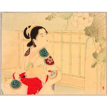 水野年方: Bijin and Lotus Flowers - Artelino
