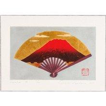 Kaneko Kunio: Red Mt.Fuji on Gold Fan - Artelino