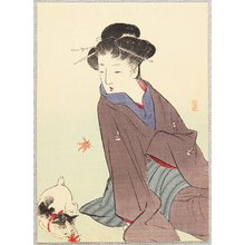 Takeuchi Keishu: Falling Maple Leaves and Cat - Artelino