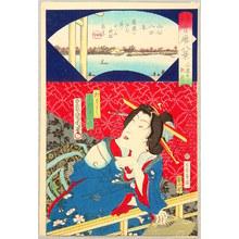 Toyohara Kunichika: Autumn Moon - Eight Scenic Views of Restaurants - Artelino