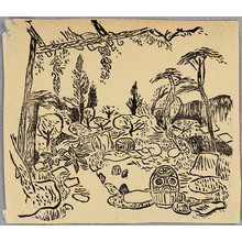 棟方志功: Back Yard of Hasegawa Villa - Han Geijutsu Vol. 12 - Artelino